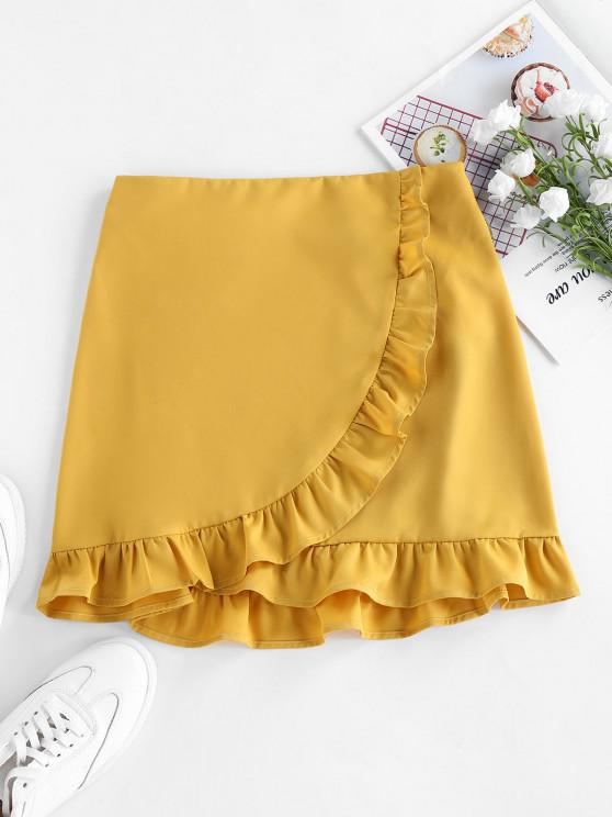 unique ZAFUL Ruffle Mini Bodycon Skirt - YELLOW M