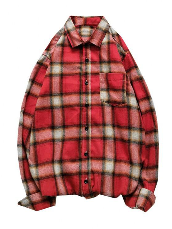 Long Sleeve Plaid Button Up Pocket Shirt - أحمر M