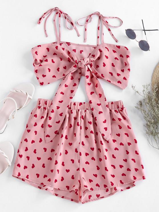 women's ZAFUL Heart Print Tie Shirred Co Ord Set - FLAMINGO PINK M