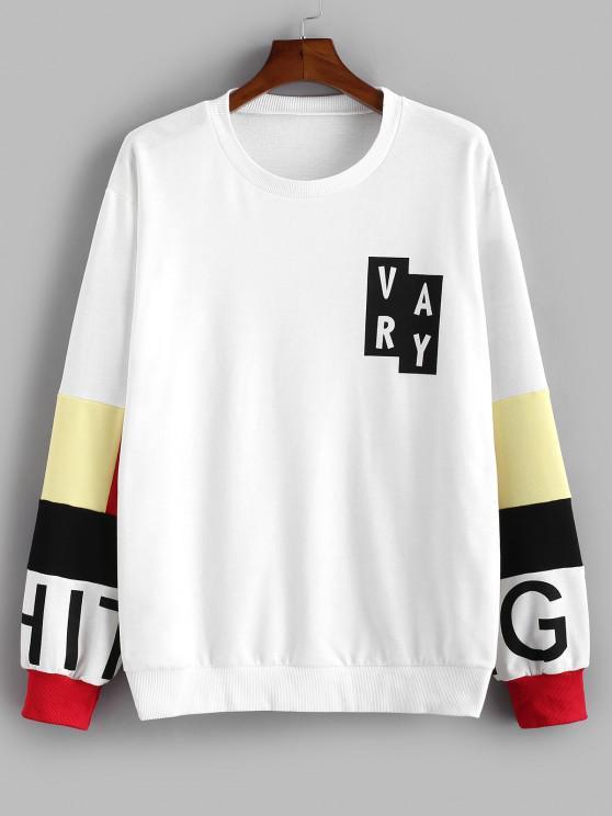 Sweat-shirt Décontracté Motif de Lettre en Blocs de Couleurs - Blanc S
