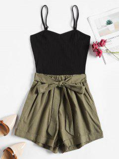 Ribbed Panel Tie Waist Two Tone Cami Romper - Black M