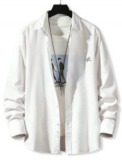 Solid Tiny Letter Print Long Sleeve Button Shirt - White 4xl