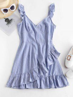 ZAFUL Ruffles Striped A Line Dress - Blue Koi S