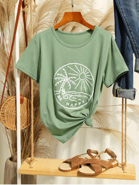 chic Funny Coconut Tree and Sun Graphic Cotton Tee - LIGHT GREEN 2XL Mobile