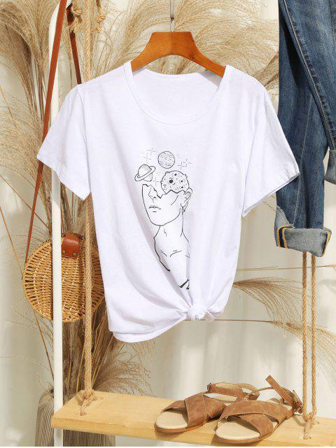 shop Figure Planet Print Short Sleeve T-shirt - WHITE S Mobile
