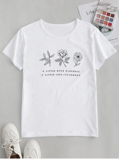 T-shirt Graphique Fleur Slogan à Manches Courtes - Blanc S Mobile