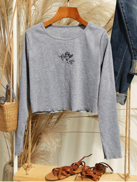 women Ribbed Angel Embroidered Long Sleeve Tee - LIGHT GRAY M Mobile