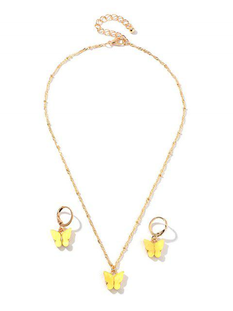 Conjunto de Aretes de Collar de Mariposa de Resina - Amarillo  Mobile