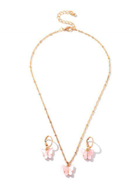 Из смолы Бабочка Ожерелье Серьги Комплект - Розовый  Mobile