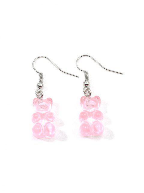 Форма медведя Прозрачные Серьги - Розовый  Mobile