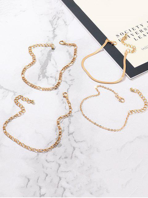 Conjunto de Brazalete Estilo Cadena Simple - Oro  Mobile