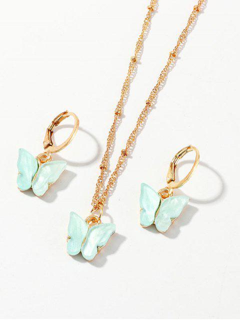 Conjunto de Aretes de Collar de Mariposa de Resina - Verde Menta  Mobile
