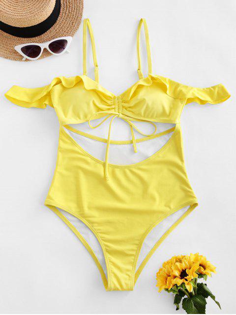 ZAFUL Bañador en Una Pieza de Tie-dye con Volantes - Amarillo XL Mobile