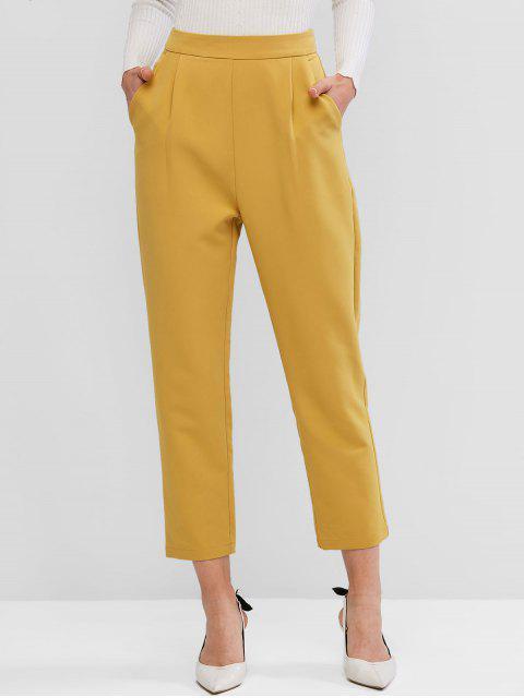 ZAFUL Pantalones Rectos de Cintura Alta de Dos Bolsillos - Amarillo Brillante M Mobile