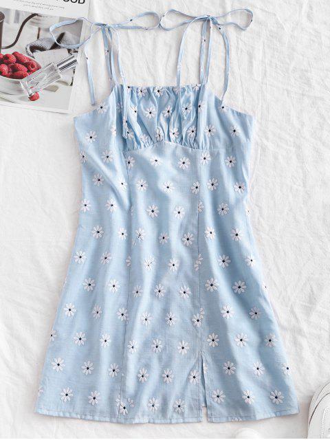 ZAFUL Mini Vestido Floral con Abertura de Hombro con Lazo Lazo - Gris Azulado S Mobile