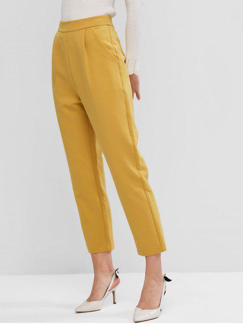 ZAFUL二つはソリッドハイウエストストレートパンツポケット - 明るい黄色 S Mobile