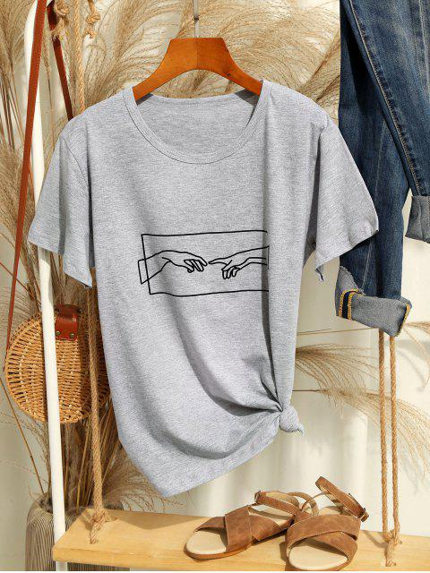 women Hand Graphic Jersey Tee - GRAY GOOSE L Mobile