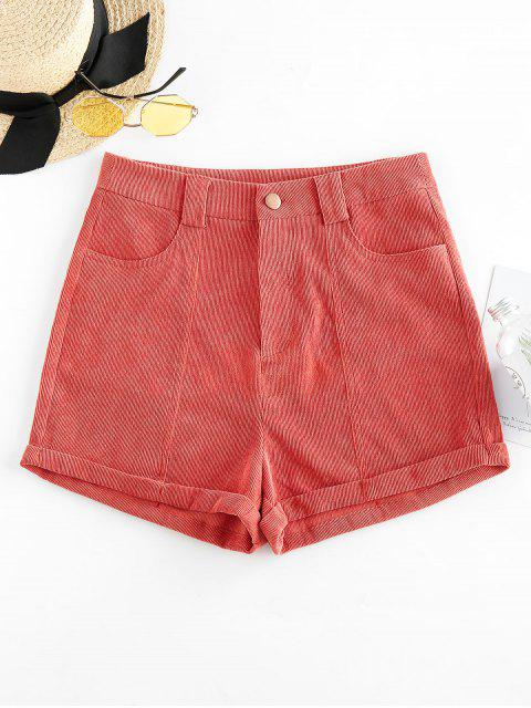 latest ZAFUL Corduroy Cuffed Shorts - CHESTNUT RED M Mobile