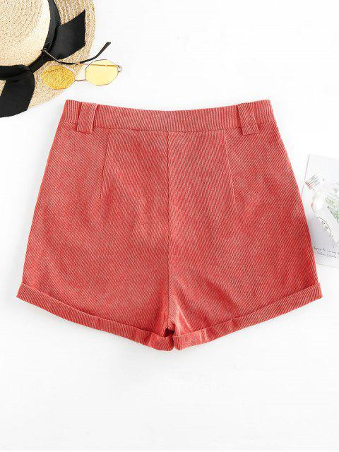 lady ZAFUL Corduroy Cuffed Shorts - CHESTNUT RED S Mobile