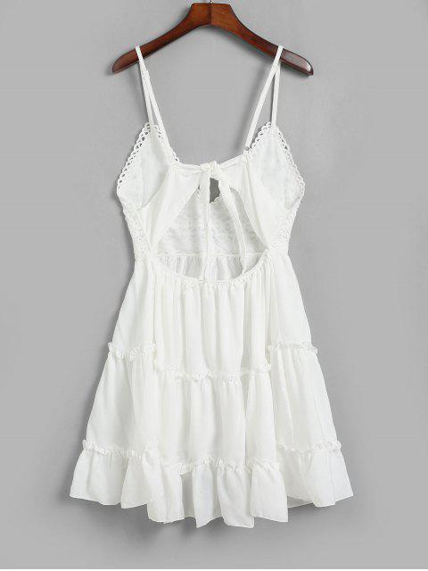 best Knotted Back Crochet Panel Flared Cami Dress - WHITE S Mobile