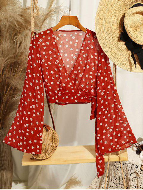 shop Cropped Wrap Top - CHERRY RED M Mobile