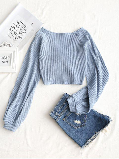 affordable Textured Knitted Gathered Top - GREY BLUE S Mobile