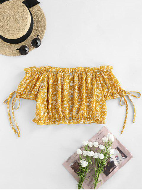 affordable ZAFUL Off Shoulder Ditsy Print Ruffle Button Embellished Blouse - YELLOW M Mobile