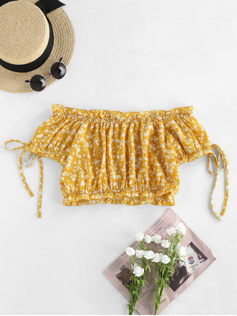 womens ZAFUL Off Shoulder Ditsy Print Ruffle Button Embellished Blouse - YELLOW XL Mobile