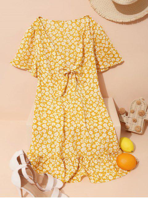 ZAFUL Vestido con Volantes con Estampado Floral de Mariposa - Amarillo XL Mobile