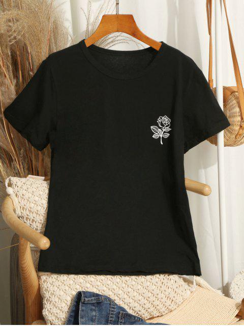 T-shirt Motif de Fleur Imprimé à Manches Courtes - Noir XL Mobile