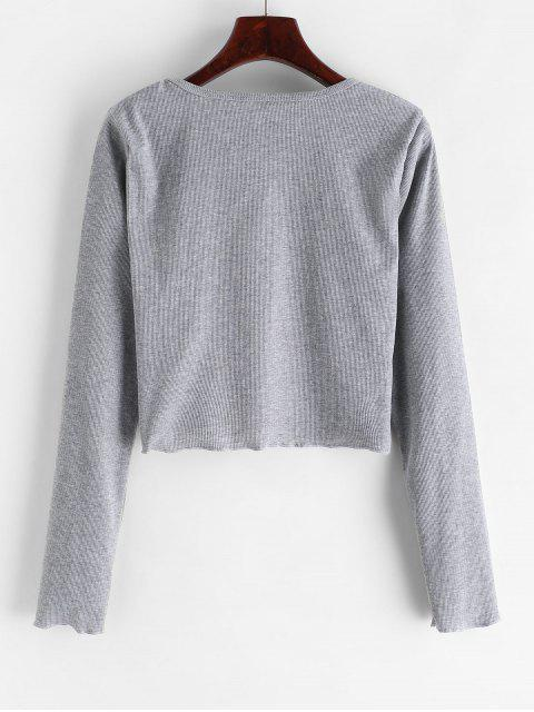 shop Ribbed Angel Embroidered Long Sleeve Tee - LIGHT GRAY L Mobile