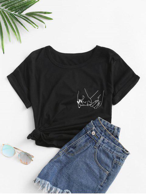 手プリント 半袖 Tシャツ - ブラック S Mobile