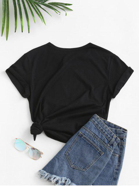 lady Hands Print Short Sleeve T-shirt - BLACK XL Mobile