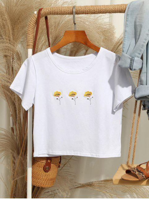 fancy Flower Embroidered Short Sleeve T-shirt - WHITE M Mobile