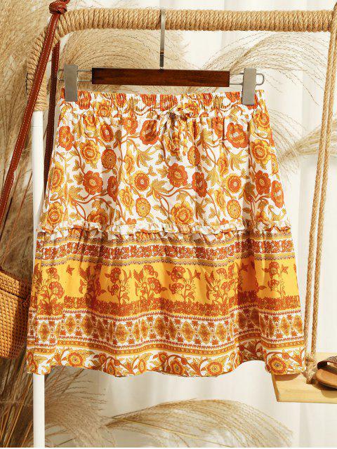 Mini Falda Floral y Cordones - Naranja S Mobile