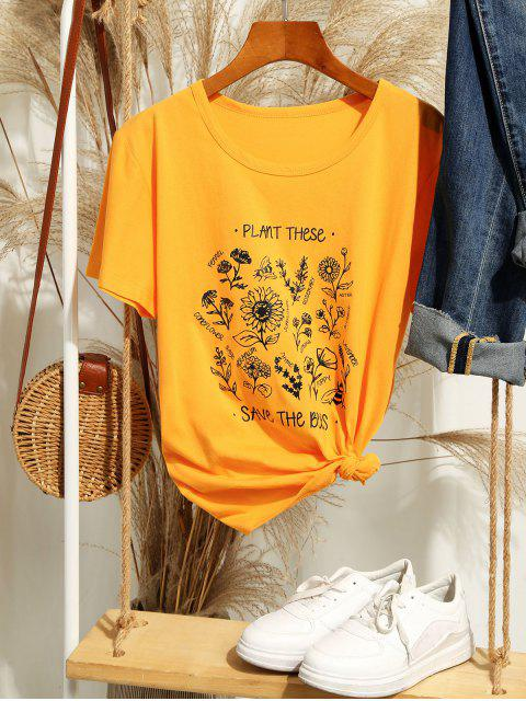 chic Floral Save The Bees Graphic Basic T Shirt - YELLOW L Mobile