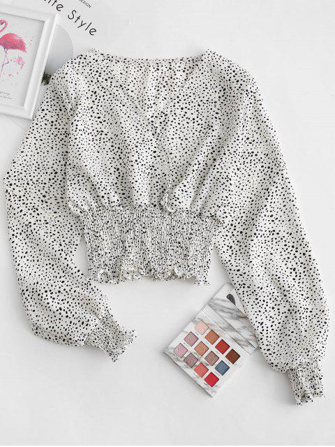 fashion Dalmatian Dot Smocked Crop Blouse - WHITE S Mobile