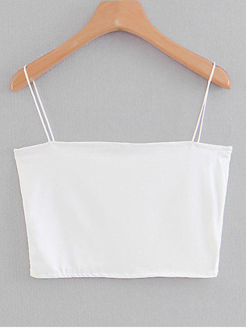 shop Spaghetti Strap Cropped Top - WHITE S Mobile