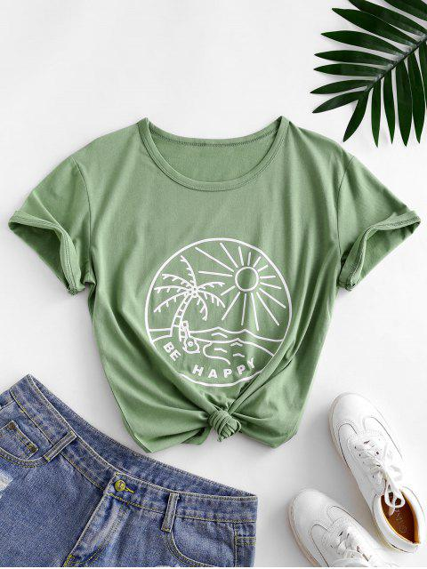 lady Funny Coconut Tree and Sun Graphic Cotton Tee - LIGHT GREEN XL Mobile