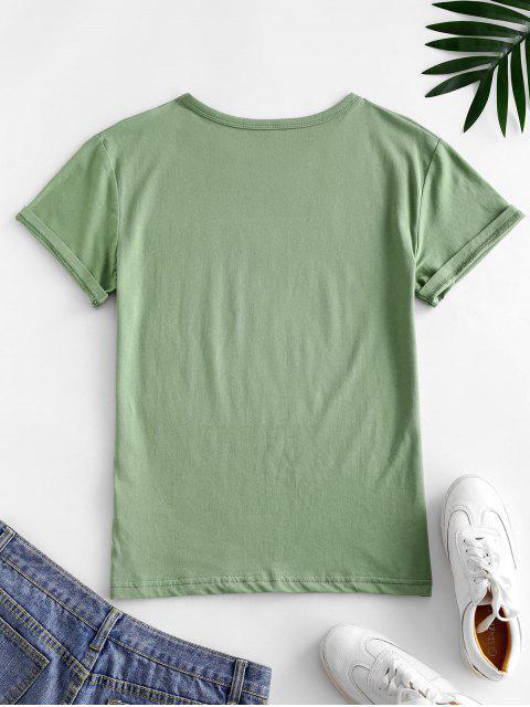T-shirt Graphique Cocotier et Soleil en Coton - Vert clair L Mobile
