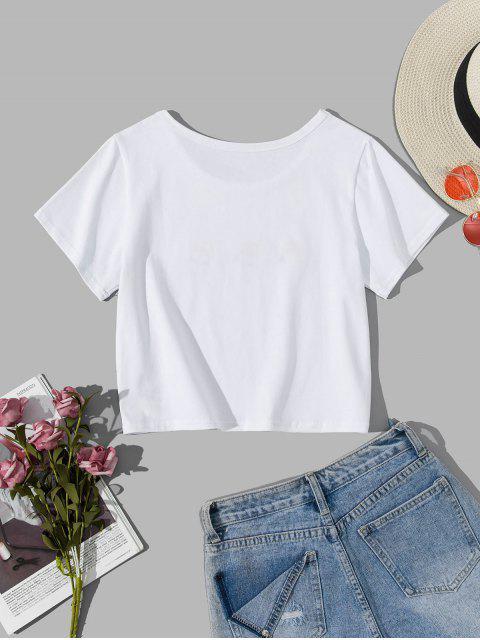 T-shirt Fleuri Brodé à Manches Courtes - Blanc S Mobile