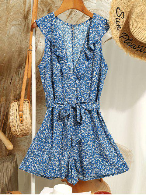 best Sleeveless Ditsy Floral Belted Ruffles Romper - BLUE S Mobile