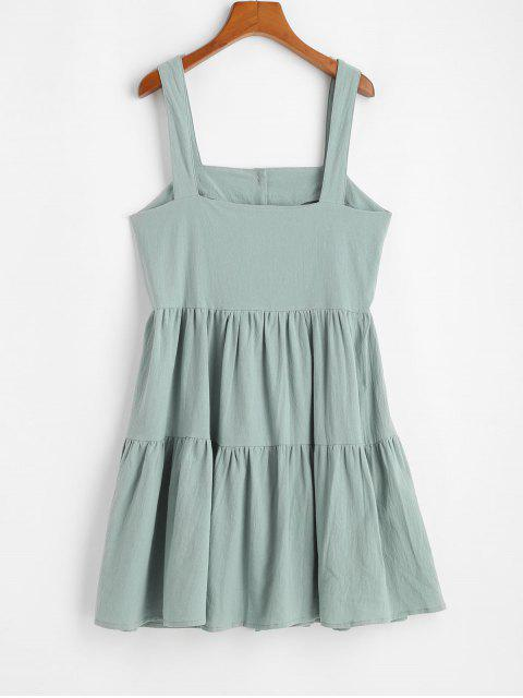 shops ZAFUL Casual Half Buttoned Straps Mini Dress - LIGHT GREEN L Mobile