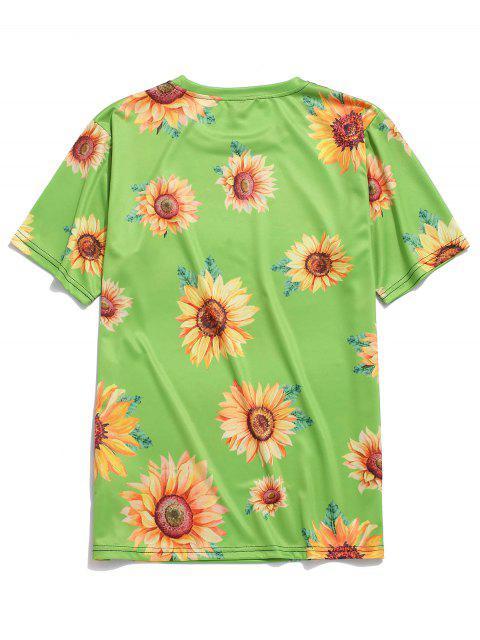 Camiseta de Vacación de Cuello Redondo con Mangas Cortas con Estampado de Girasol - Cebolla Verde 3XL Mobile