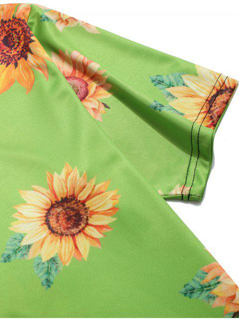 Camiseta de Vacación de Cuello Redondo con Mangas Cortas con Estampado de Girasol - Cebolla Verde 4XL Mobile