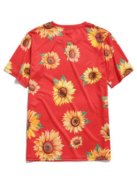 Camiseta de Vacación de Cuello Redondo con Mangas Cortas con Estampado de Girasol - Rojo 3XL Mobile