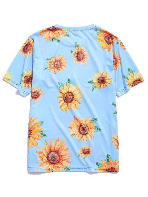 buy Short Sleeve Sunflower Print Vacation T-shirt - LIGHT BLUE M Mobile