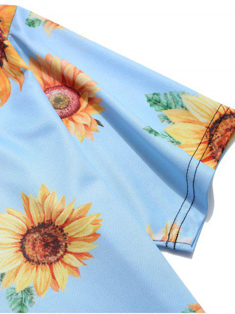 ladies Short Sleeve Sunflower Print Vacation T-shirt - LIGHT BLUE 3XL Mobile
