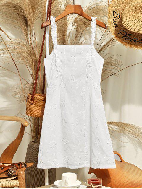 lady ZAFUL Back Zipper Frilled Trim Eyelet Mini Dress - WHITE S Mobile