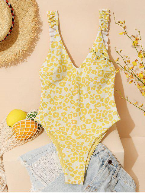 affordable ZAFUL Reversible Leopard Dalmatian Heart Valentine One-piece Swimsuit - YELLOW S Mobile